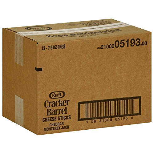 Cracker Barrel Monterey Jack Cheese Sticks, 7.5 Ounce -- 12 per case.