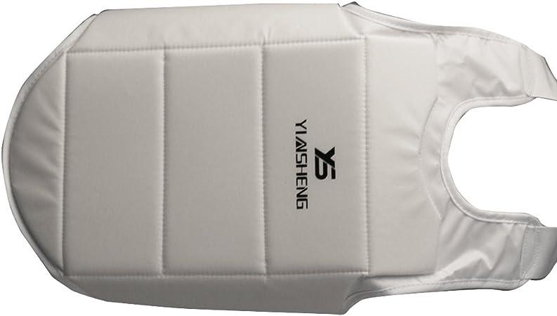 MagiDeal Hommes Femmes Plastron Karat/é Protecteur Poitrine pour Taekwondo Boxe Sport de Combat Blanc