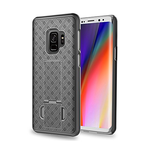 Samsung Galaxy S9 Case, Galaxy S9 Swivel Slim Belt Clip Holster Protective Case, Defender Cover for Galaxy S9 Phone Cases (Holster Shell Combo) - Black
