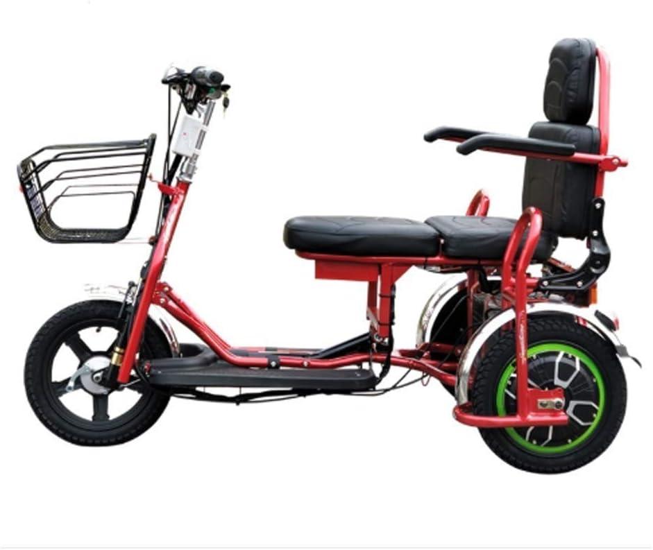 CYGGL Triciclo Eléctrico Plegable, Scooter Eléctrico Portátil De Aluminio Plegable, Carga 180KG, 48V / 20Ah, Motor 350W Neumático De 14 Pulgadas, Adecuado para Personas Mayores O Discapacitadas
