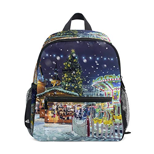 Christmas Night Snow Town School Backpack Canvas Rucksack Large Capacity Satchel Casual Travel Daypack for Kids Girls Boys Children Students, 3-8 Years Old
