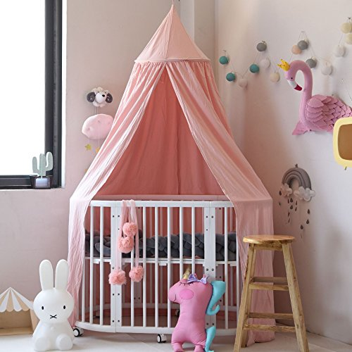 Decorative Canopy - Mosquito Net Canopy, Didihou Round Lace Dome Bed Canopy Netting Princess Mosquito Net Bonus Hanging Decorations for Baby Kids Reading Play Indoor Games House (Pink)