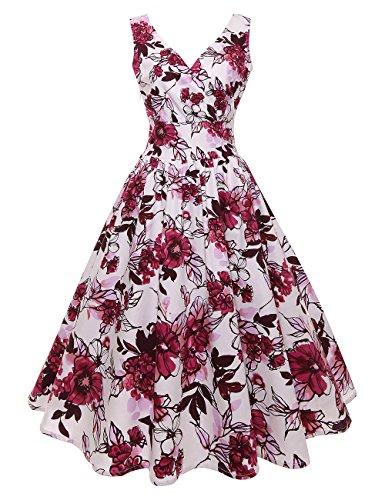 Huini Retro Kleid Blumenmuster Damen Vintage Rockabilly 50er Alinie