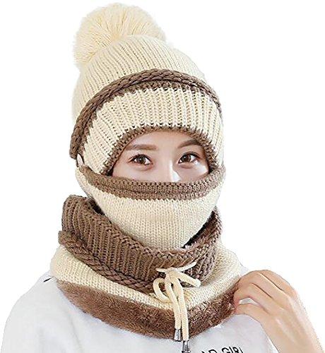 Ababalaya Women's Winter Warm Fleece Knit Pom Pom Hat & Remo