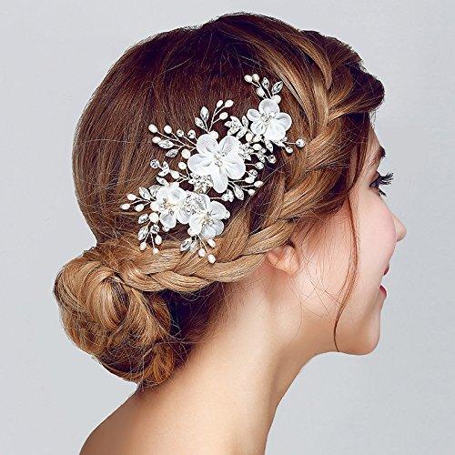 AW BRIDAL Flower Side Hair Clip Freshwater Pearl Women Wedding Headpiece Hair Accessories