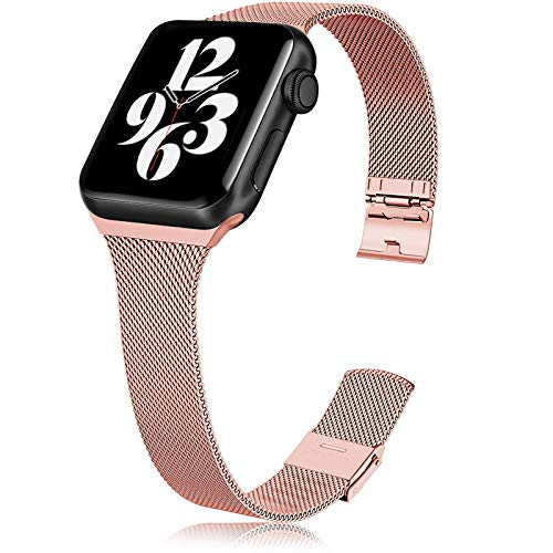 Metal Slim Band Compatible for Apple Watch 38mm 40mm 42mm 44mm, Stainless Steel Narrow Soft Replacement Wristband for iWatch Series 6 5 4 3 2 1 SE (Rose pink,38mm/40mm)