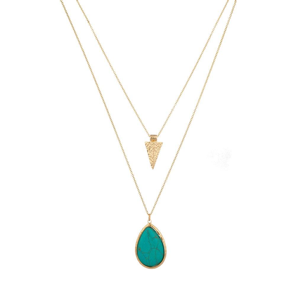 Lux Accessories Turquoise Stone Teardrop Tear Drop Arrowhead Arrow Necklace Set