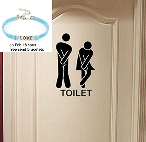 Removable Cute Man Woman Washroom Toilet WC Wall Sticker Family DIY Decor (Decor Switchplate)