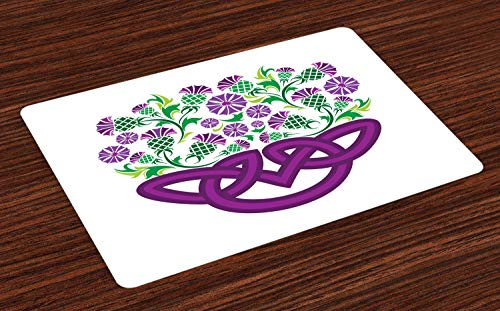 Ambesonne Thistle Place Mats Set of 4, Celtic Knot and Thistle Plant in Basket Form with Flowers, Washable Fabric Placemats for Dining Room Kitchen Table Decor, Shamrock Green Violet and - Thistle Basket