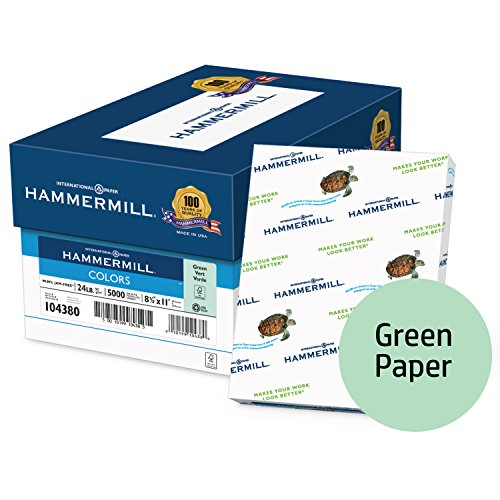 Hammermill Colored Paper, Green Printer Paper, 24lb, 8.5x11 Paper, Letter Size, 5000 Sheets / 10 ream Case, Pastel Paper, Colorful Paper (104380C) ()