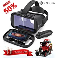 3D VR Headset with Remote Virtual Reality Glasses for 3D Movies and VR Games Works with iOS / Android / Windows Focal and Pupil Distance Adjustable for 3.5-6.0 inches Prime Comfortable