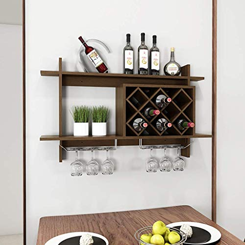 - GONGFF Wine Rack Simple European Wall Hanging Wine Rack Wine Cabinet Suspension Trellis Wine Rack Creative Wall Shelf Wine Tray Storage Rack (Color: Brown)