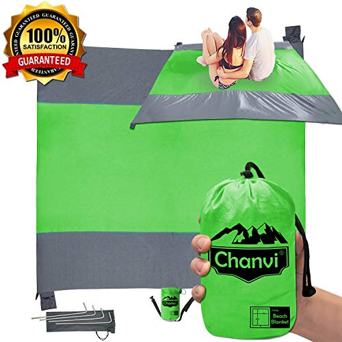 Chanvi Large Beach Blanket Handy Sand Mat- Extra Size 9' x 10' Holds 7 Adults with Strap - Perfect for Picnics, Beaches, RV, Outings, Camping, Hiking and Music Festival