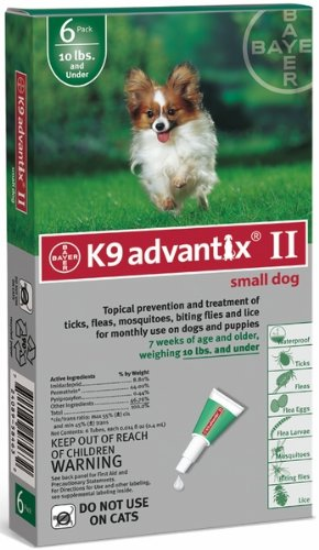 Bayer 6 Month K9 Advantix II Green for Small Dogs (Upto 10 Lbs) by Bayer Animal Health