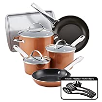 Farberware 10061 Nonstick Cookware Luminescence Aluminum Set (12 Piece), Large, Copper Shine