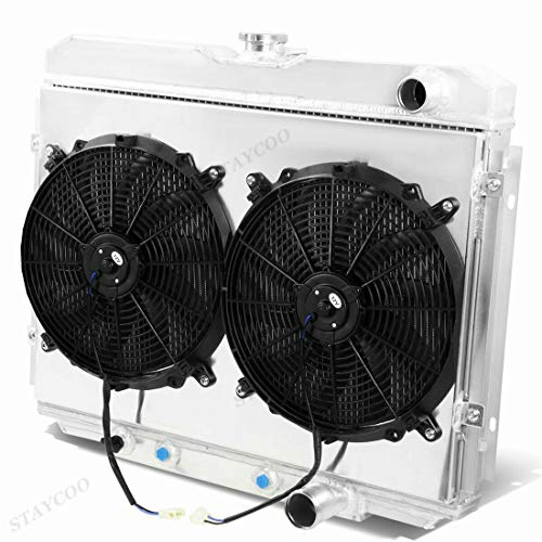 - STAYCOO 3 Row All Aluminum Radiator+Shroud w/12 Inches fan for 1967-1970 Ford Mustang Mercury Cougar XR-7 4.7 5.0 5.8L