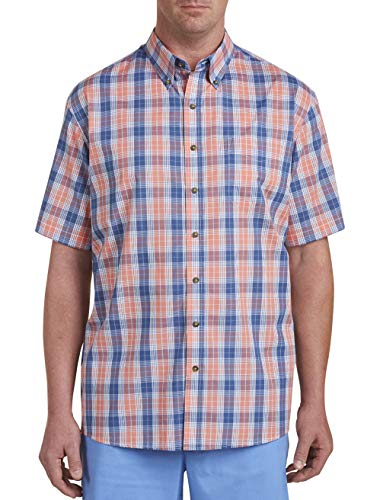 Harbor Bay by DXL Big and Tall Madras Plaid Sport Shirt, Burnt Orange, 1XL