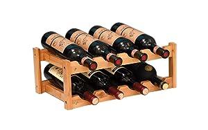 RIIPOO 8-Bottle Wine Rack, 2-Tier Nature Bamboo Wine Display Rack, Free Standing and Countertop Wine Storage Shelf (8-Bottle)