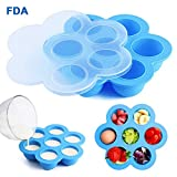 HUASHAN Silicone Egg Bites Molds for Instant Pot Accessories,Fits 5,6,8 qt Pressure cooker,Reusable Storage Container Food Freezer Trays and Baby Food Container (blue)