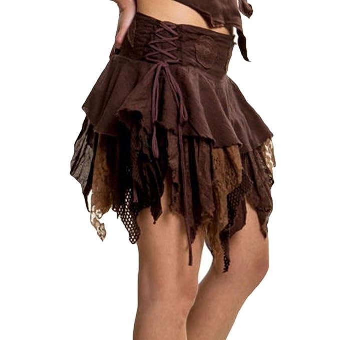 Mujer Bohemia Faldas Corto Dobladillo Irregular Ruffle Mini Falda ...