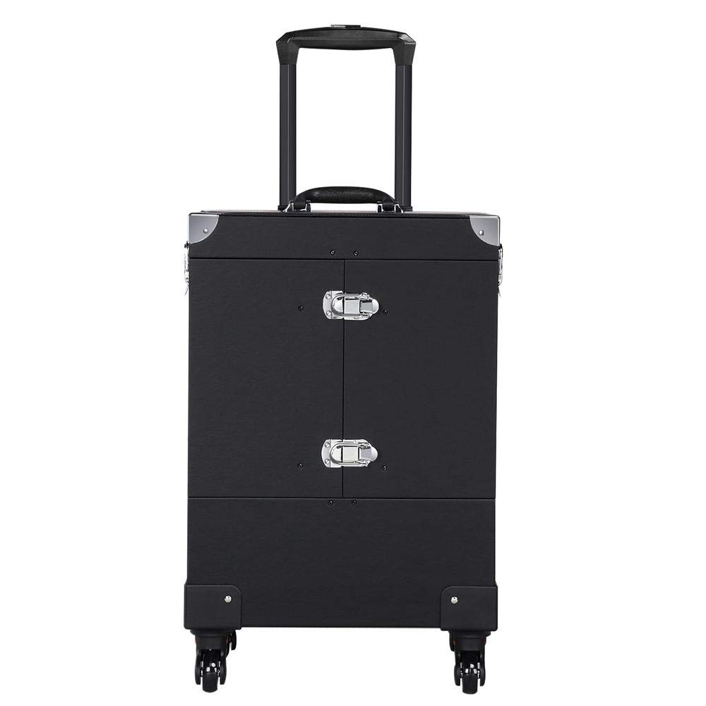 Yaheetech Rolling Makeup Cosmetic Train Case Trolley Cosmetic Luggage Case Large with 4 Removable Spinner Wheels MirrorPull Rod Handle Nail Technician Toolbox by Yaheetech
