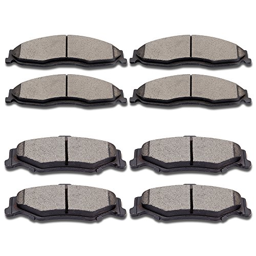 (SCITOO Ceramic Discs Brake Pads, Full Kits ThermoQuiet Ceramic Front Rear Disc Brake Pad Set Compatible ATD749C ATD750C fit 1998 1999 2000 2001 2002 Chevrolet Camaro Pontiac Firebird)