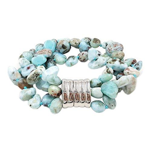 7.25 Natural Stone Larimar 3 Rows Bracelet Magnet Clasp