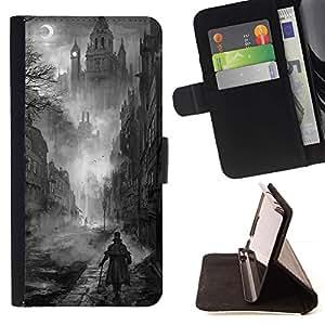 Momo Phone Case / Flip Funda de Cuero Case Cover - Negro Pintura White Castle Vampiro - Sony Xperia Style T3