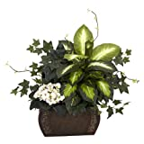 Nearly Natural 6684 African Violet Dieffenbachia and Ivy with Chest Decorative Silk Plant, Green
