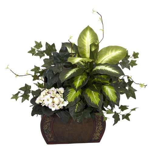 Nearly Natural 6684 African Violet Dieffenbachia and Ivy with Chest Decorative Silk Plant, (Nearly Natural Silk Flower)