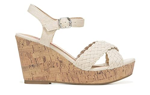 81ae98fac Jellypop Panke Womens Wedge Sandals Natural Canvas 10