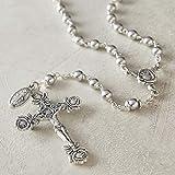 Catholic Silver Swarovski Pearls Shiny Gray Silver