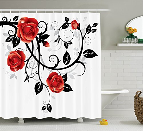 ... Ornate Swirling Branches With Roses Garden Floral Gothic Grunge Style  European Artwork, Bathroom Accessories, 75 Inches Long, Red Black