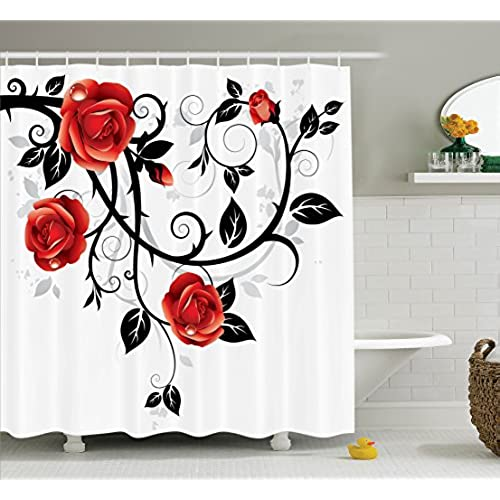 Gothic Decor Shower Curtain Set By Ambesonne Ornate Swirling Branches With Roses Garden Floral Grunge Style European Artwork Bathroom Accessories