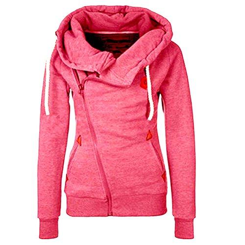 Laixing # 1111 - Sudadera ajustada con capucha y cremallera para mujer Rosso
