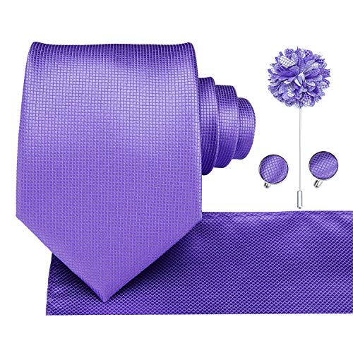 Dubulle Lavender Necktie with Pocket Square Lapel Pin Light Purple Ties with Cufflinks for Wedding