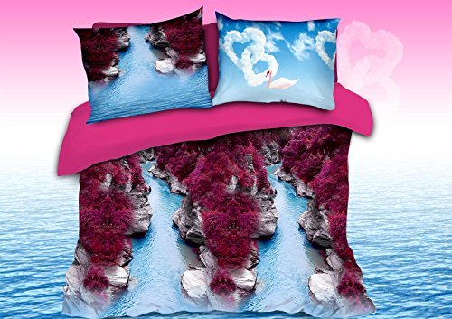 (HIG Luxurious 3D Bed Sheet Set Wild Life Animals,Flowers and Scenery Print Canyon with Purple Red Bushes and Swan with Love Clouds in Queen King Size (Queen,)