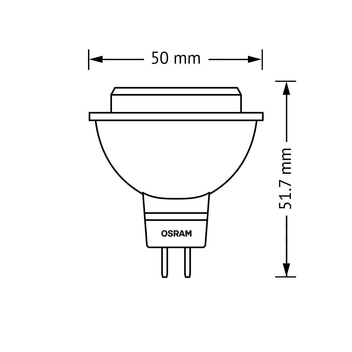 LED-Spot Abstrahlungswinkel 36/° // warmwei/ß 6er Pack 2700K 20 Watt-Ersatz OSRAM LED-Reflektorlampe GU5.3 Star MR16 12V // 3W