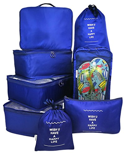 8 Set Travel organizers Packing Сubes Luggage Accessories Сlothes Shoes Bag Navy Blue by my FL