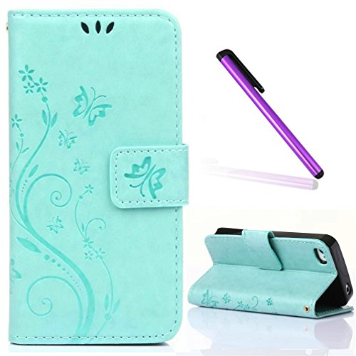 iPhone 4 Case,iPhone 4S Case,EMAXELER Stylish Embossing Wallet Case [Kickstand Flip Case][Credit Cards Slot][Cash Pockets] Cool PU Leather Wallet Case For iPhone 4/4S Color light Green (Light Green Iphone 4s Case)