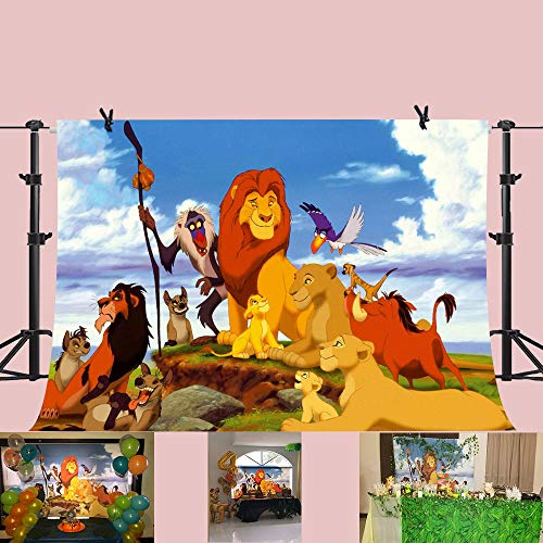 King Wallpaper - PHMOJEN 7X5FT Cartoon Lion Forest King Photography Backdrop Jungle Safari Background for Photographic Kids Children Party Studio Photo Backdrop Props GEPH103