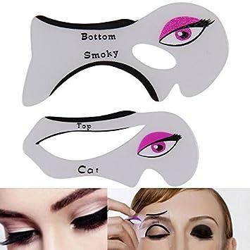 Plantillas Para Una Perfecta Delineador De Ojos De Gato Y Ahumado ojos 2 Piezas Maquillaje Herramienta Plantilla UK: Amazon.es: Hogar