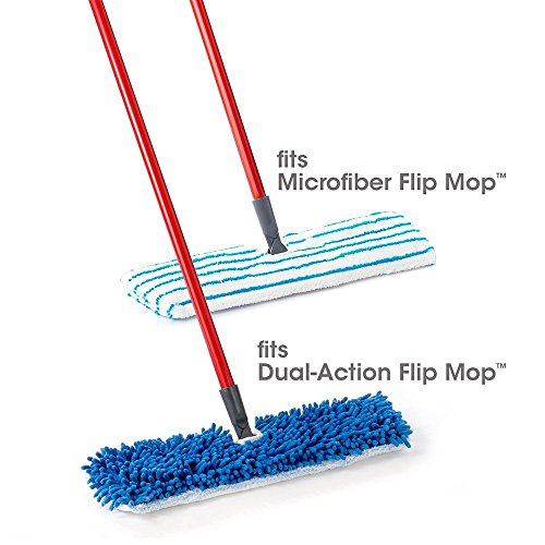 "Houseables Flip Mop Refills, 3 Pack, 18 Inch, Dual-Action Microfiber Floor Mops Replacement Pads, Dry/Wet, Machine Washable, Double Sided Velcro Flat Sponge, 18"" L X 6"" W, All Surface Cleaning"
