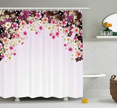 Ambesonne Floral Shower Curtain by, Daisy Bouquet Botany Petals with Butterfly Wedding Valentines Romance Design, Fabric Bathroom Decor Set with Hooks, 84 Inches Extra Long, Light Pink Purple