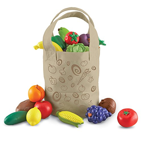 Fruit Plastic Toy Food - Learning Resources Fresh Picked Fruit And Veggie Tote, 17 Pieces