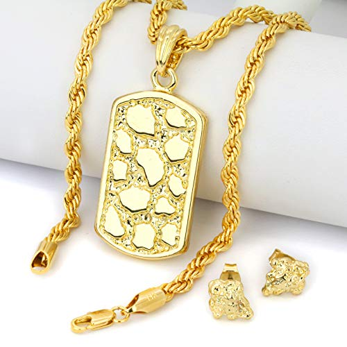Jewel Town Gold Plated 14k Hip Hop Chip Nugget Cut Back Butterfly Earrings & Dog Tag Pendant w/Rope Chain 24