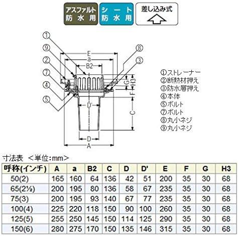 カネソウ 鋳鉄製ルーフドレイン たて引き用 一般型 外断熱用 バルコニー中継用(呼称50) ※メーカー直送代引不可 ESBW-3-50