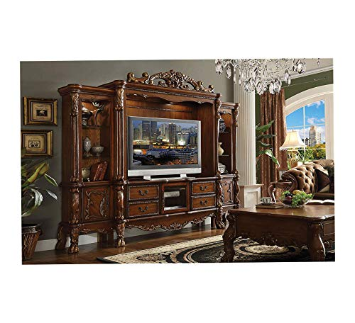 Wood & Style Furniture Dresden Cherry Oak Entertainment Center with TV Stand Premium Office Home Durable Strong