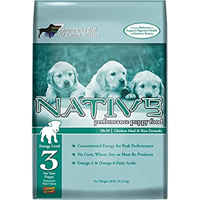 Native Performance Dog Food Level 3 Puppy 30:20 Chicken Meal And Rice Formula, 40-Pound