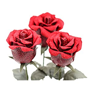 3 red leather rose bouquet 3rd wedding anniversary gift long stem flower forever rose handmade by LeatherBlossoms 14